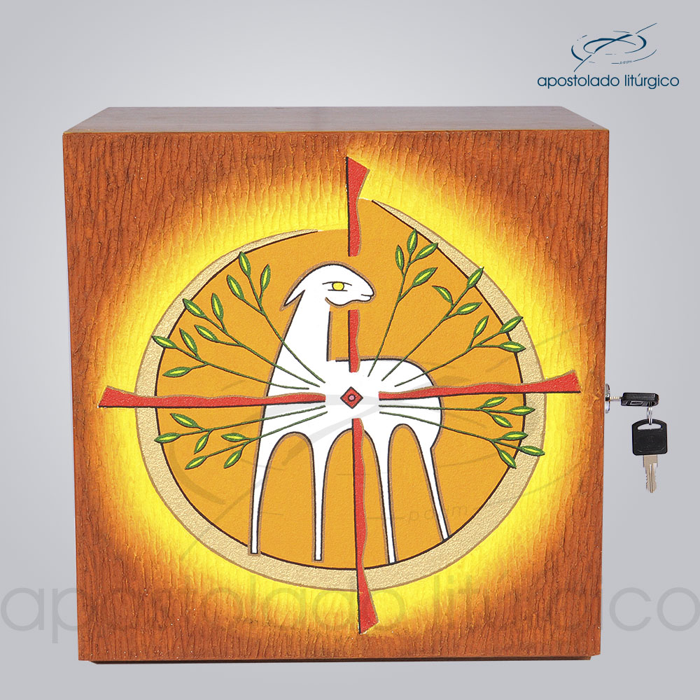 Sacrario Cordeiro Arvore da Vida Medio 33x33x26cm Frente COD 4030 | Apostolado Litúrgico Brasil