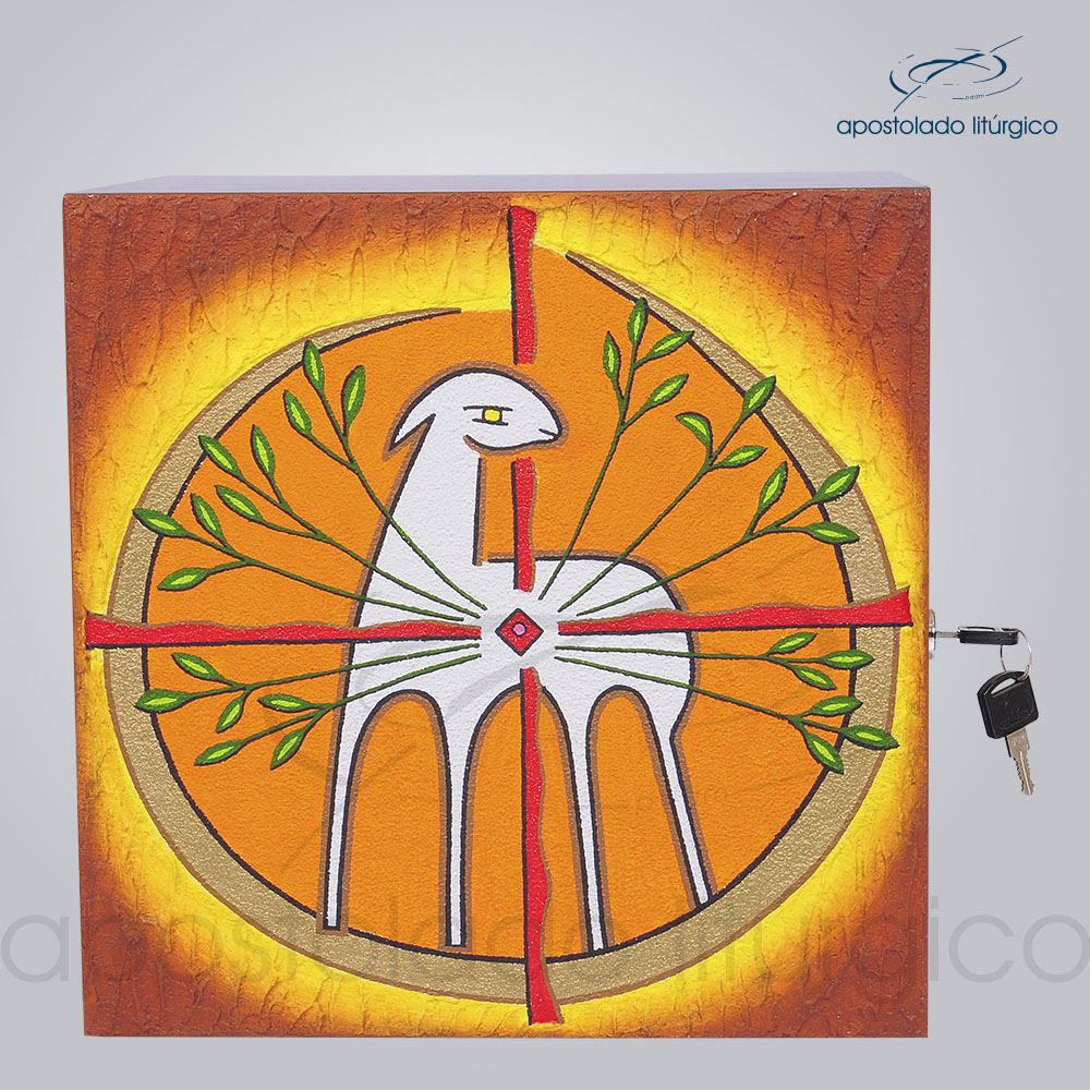 Sacrario Cordeiro Arvore da Vida Pequeno 22x22x20cm Frente COD 4026 | Apostolado Litúrgico Brasil