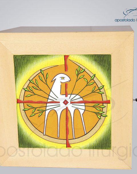Sacrario Cordeiro Arvore da Vida com Lateral Grande Madeira Clara 38x38x33cm Frente – COD 4063