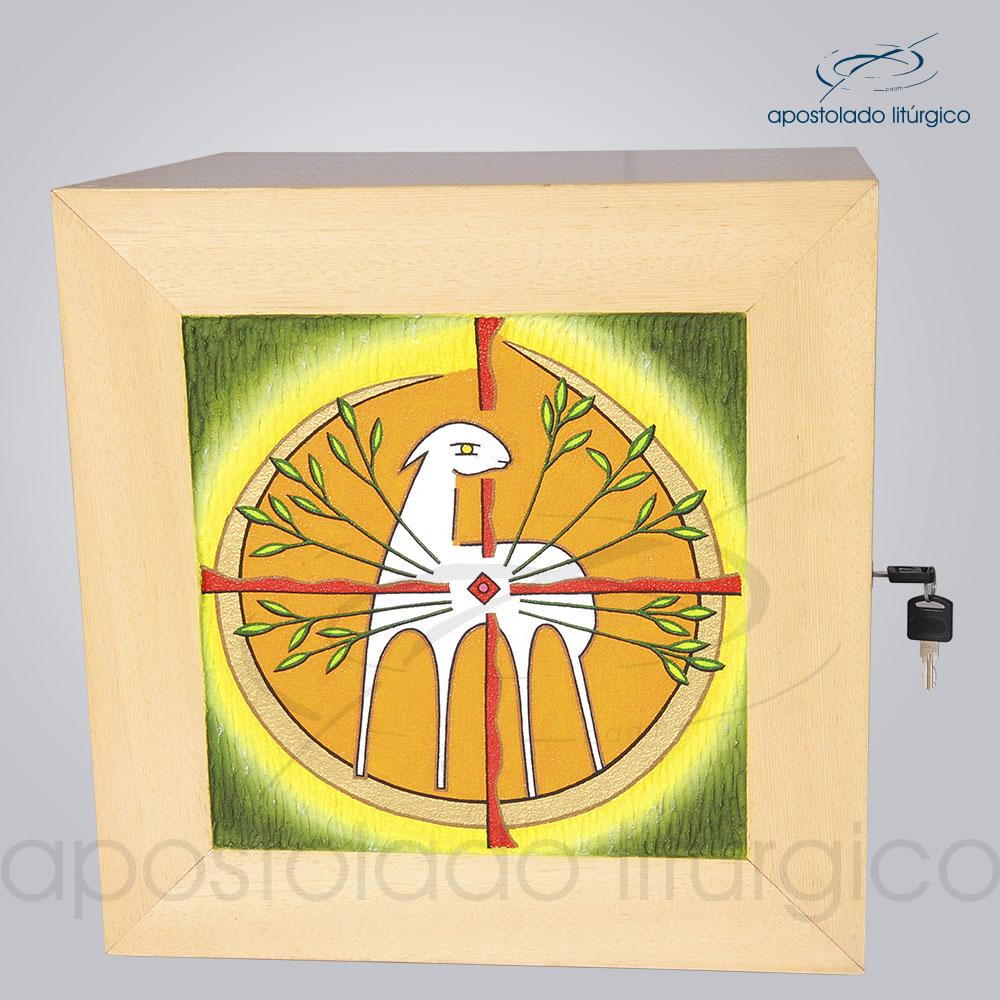 Sacrario Cordeiro Arvore da Vida com Lateral Grande Madeira Clara 38x38x33cm Frente COD 4063 | Apostolado Litúrgico Brasil