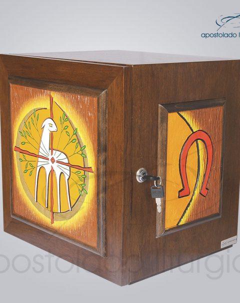 Sacrario Cordeiro Arvore da Vida com Lateral Grande Madeira Escura 38x38x33cm Frente-lado-COD 4063
