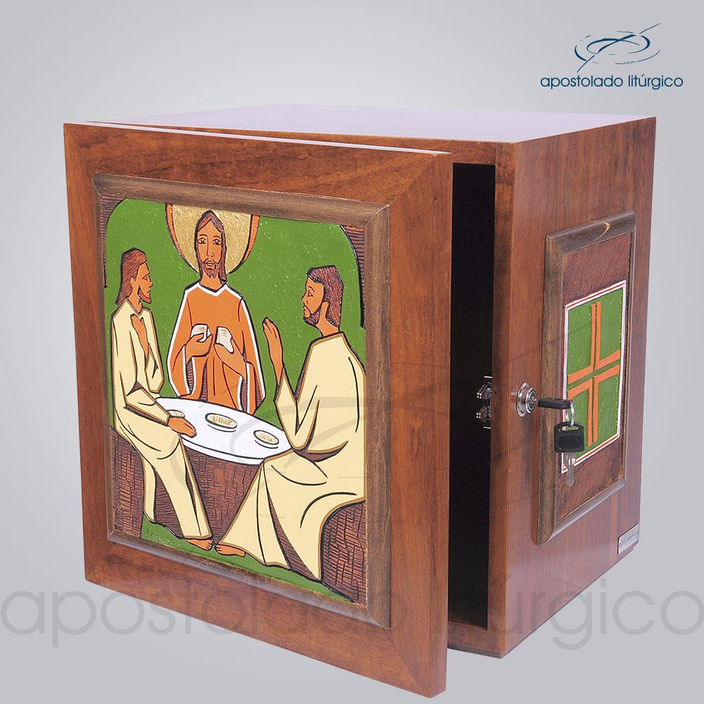 Sacrario Emaus Cruz Laterais Medio 38x38x32cm Frente Aberta COD 4037 | Apostolado Litúrgico Brasil