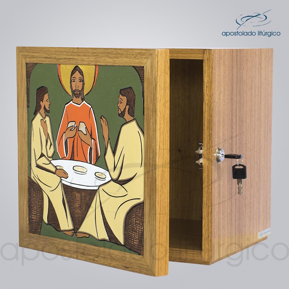 Sacrario Emaus Mesa Medio 32x32x28cm Frente Aberta COD 4057 | Apostolado Litúrgico Brasil