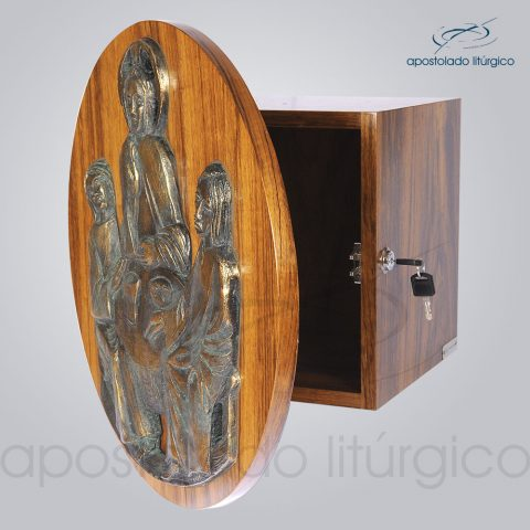 Sacrario Emaus Porta Redonda 45cm Diametro 28x28x26cm Frente Aberto – COD 4058