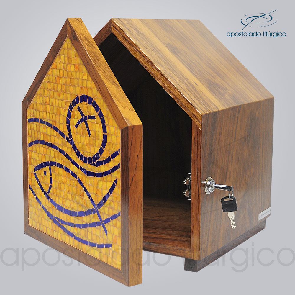 Sacrario Mosaico Casa Peixe Pao Medio 30x30x34cm Frente Aberto COD 4195 | Apostolado Litúrgico Brasil