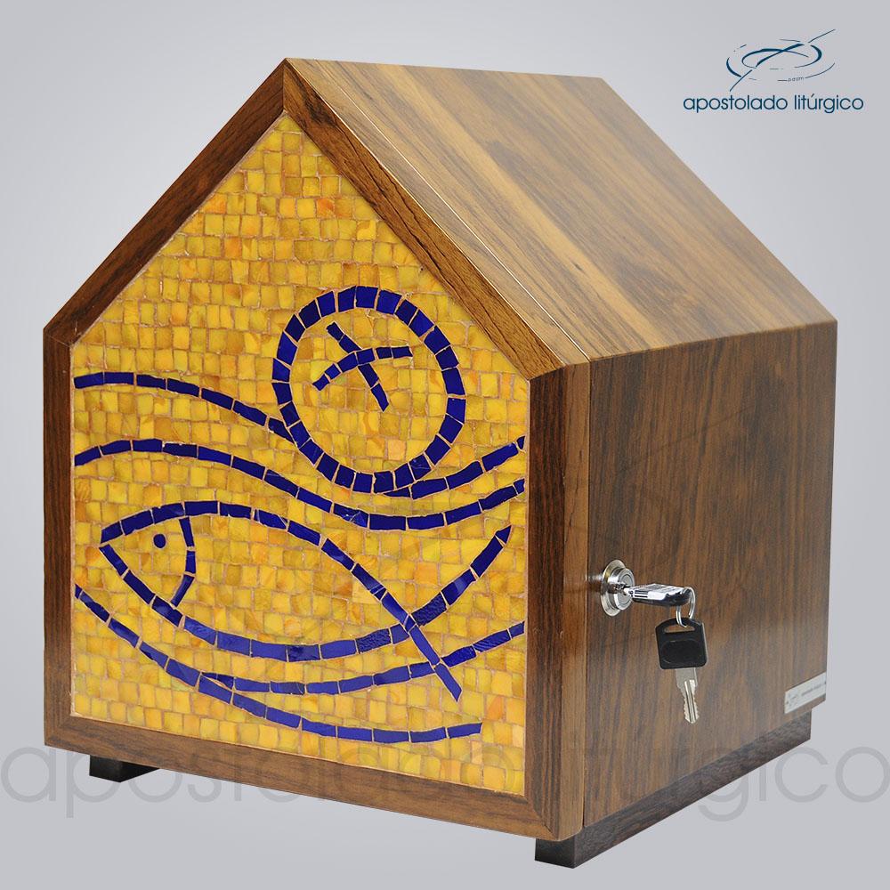 Sacrario Mosaico Casa Peixe Pao Medio 30x30x34cm Frente COD 4195 | Apostolado Litúrgico Brasil