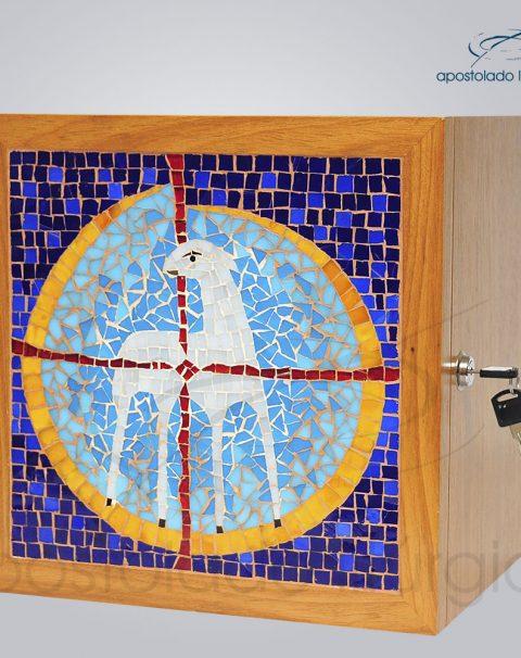 Sacrario Mosaico Cordeiro 30x30x26cm Frente Laterial – COD 4151