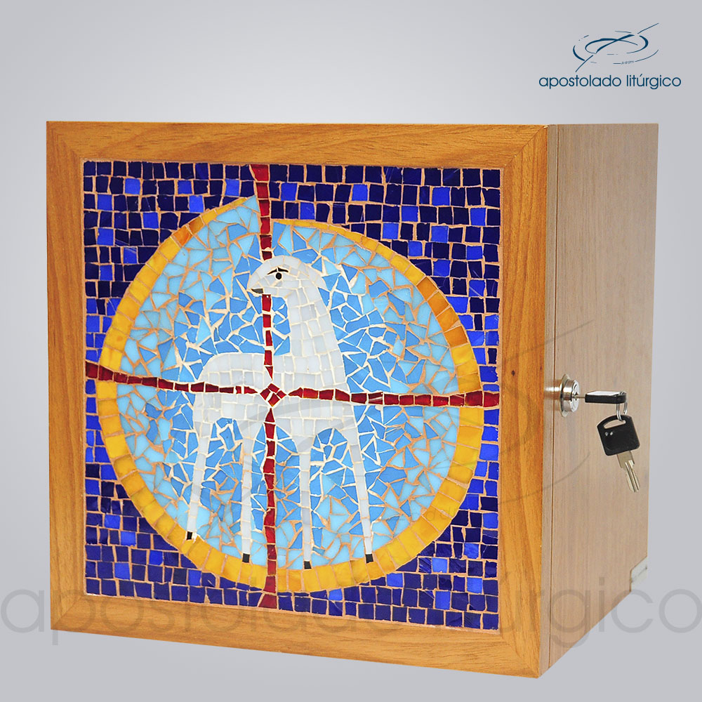 Sacrario Mosaico Cordeiro 30x30x26cm Frente Laterial COD 4151 | Apostolado Litúrgico Brasil