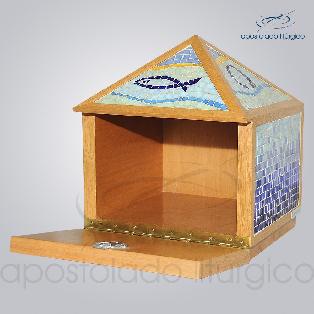 Sacrario Mosaico piramide 45x25x25cm Frente aberto COD 2107 | Apostolado Litúrgico Brasil