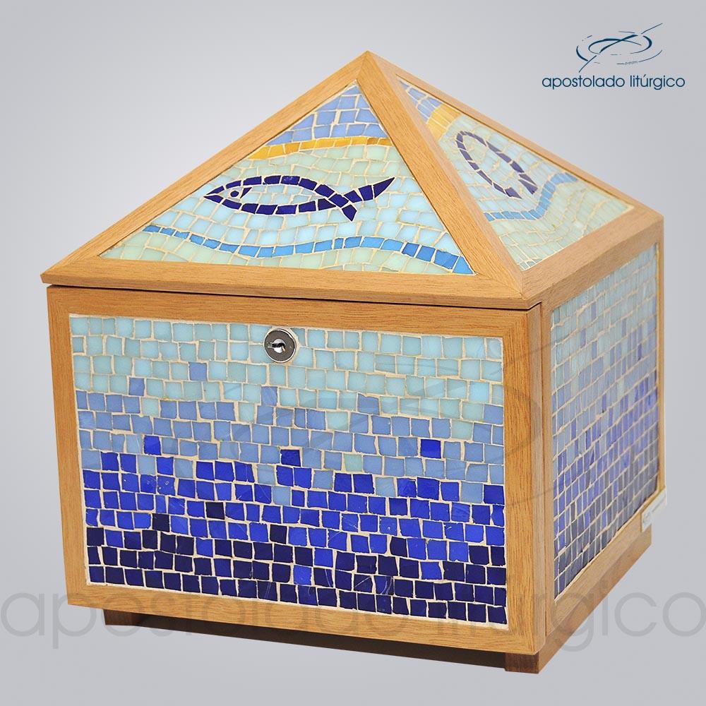 Sacrario Mosaico piramide 45x25x25cm Frente lateral COD 2107 | Apostolado Litúrgico Brasil