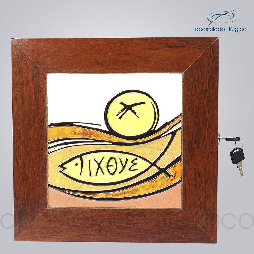 Sacrário Peixe Pão Ixoye Vidrado 30x30x29 cm