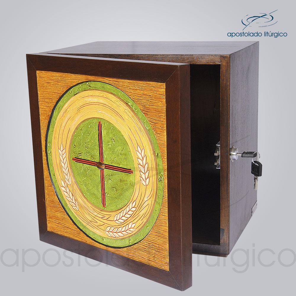 Sacrario Trigo Cruz Medio 32x32x26cm Frente Aberto COD 4159 | Apostolado Litúrgico Brasil
