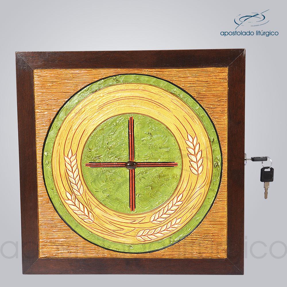 Sacrario Trigo Cruz Medio 32x32x26cm Frente COD 4159 | Apostolado Litúrgico Brasil