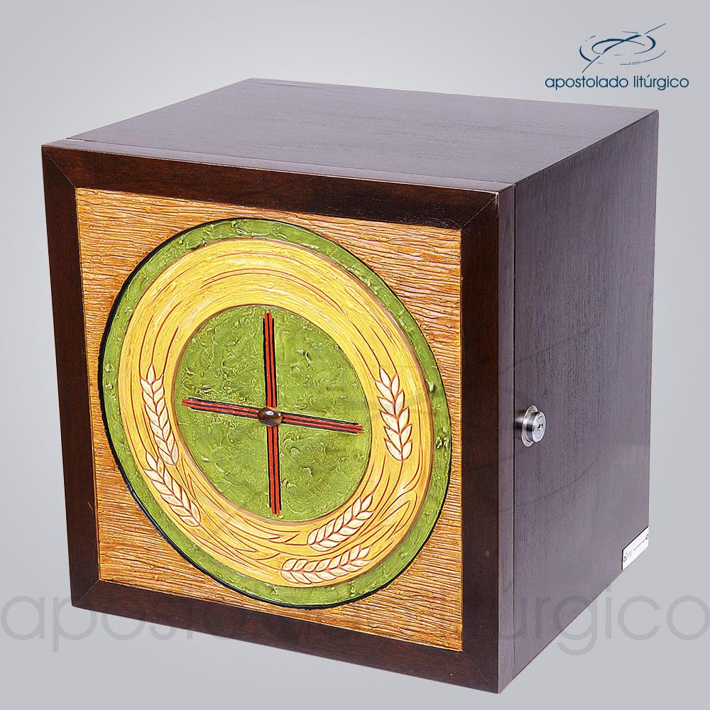 Sacrario Trigo Cruz Medio 32x32x26cm Frente Laterais COD 4159 | Apostolado Litúrgico Brasil