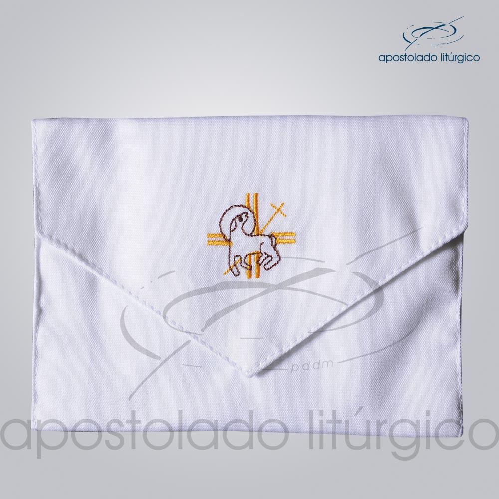 Bolsa de Viatico Bordado Cordeiro 10X15 cm COD 01266 0005   Apostolado Litúrgico Brasil