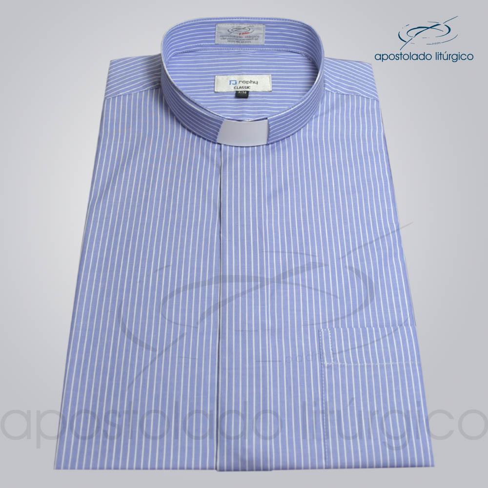 Camisa Listrada Azul Manga Curta