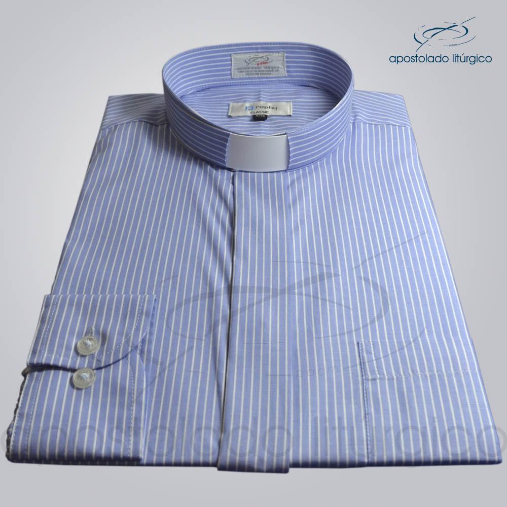 Camisa Listrada Azul Manga Longa