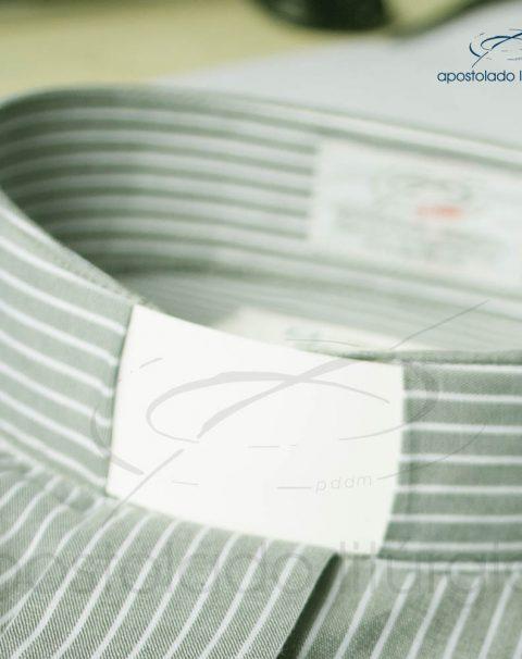 Camisa Algodão Listrada Cinza Gola