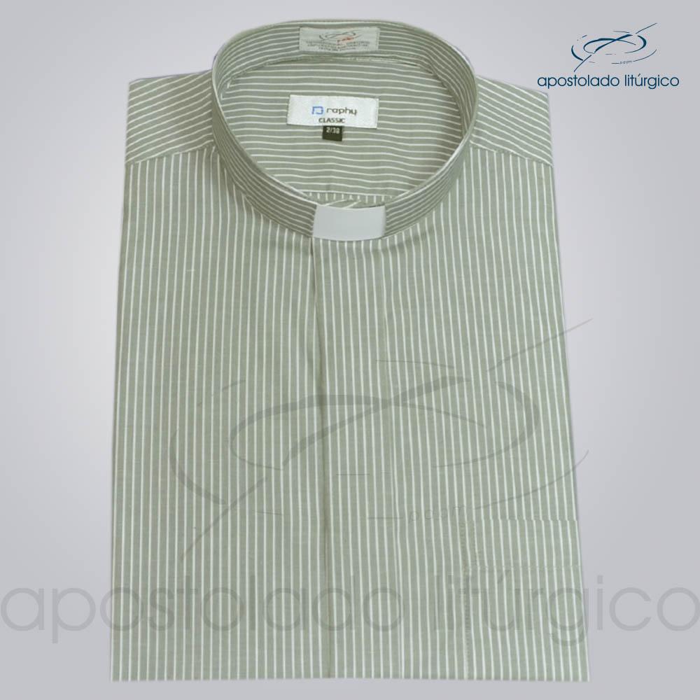 Camisa Algodão Listrada Cinza Manga Curta
