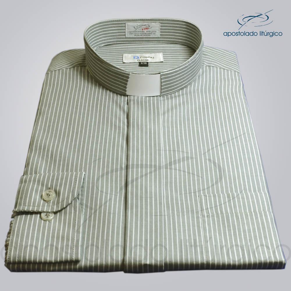 Camisa Algodão Listrada Cinza Manga Longa