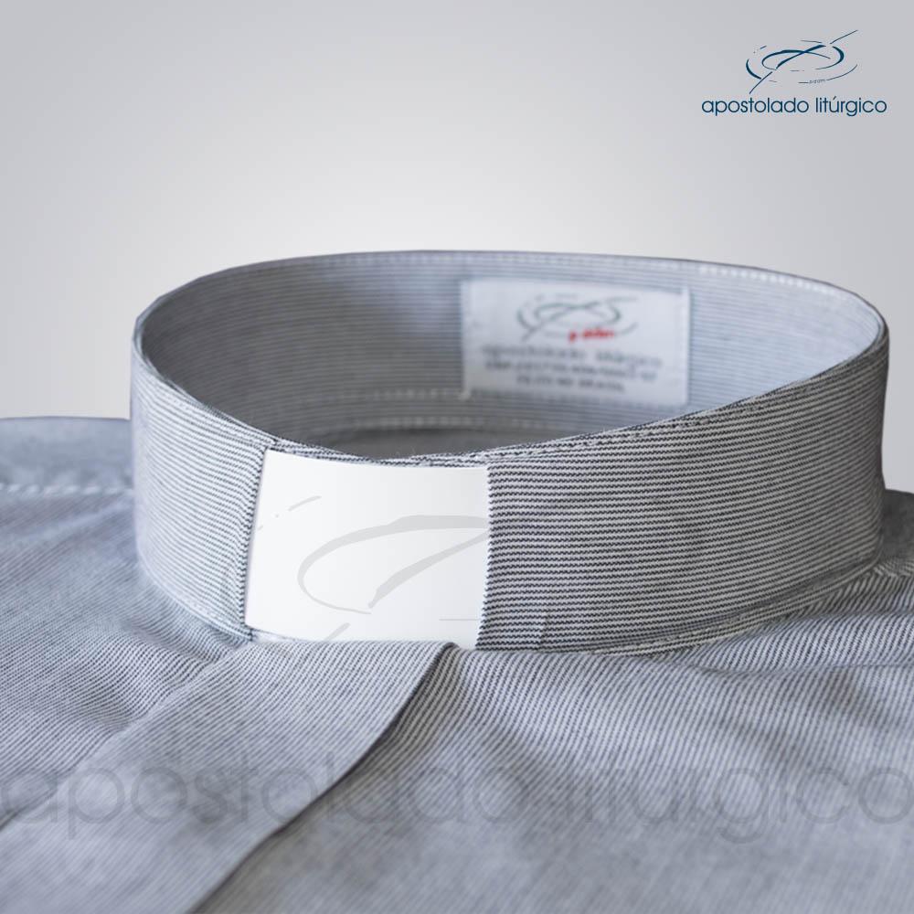 Camisa Algodão Listrada Preta Gola - COD 3501