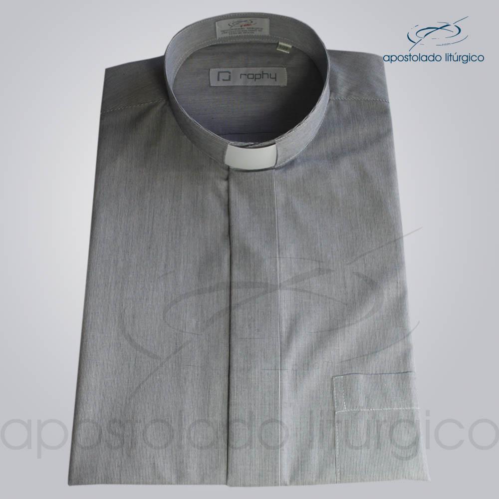 Camisa Algodão Listrada Preta Manga Curta - COD 3501