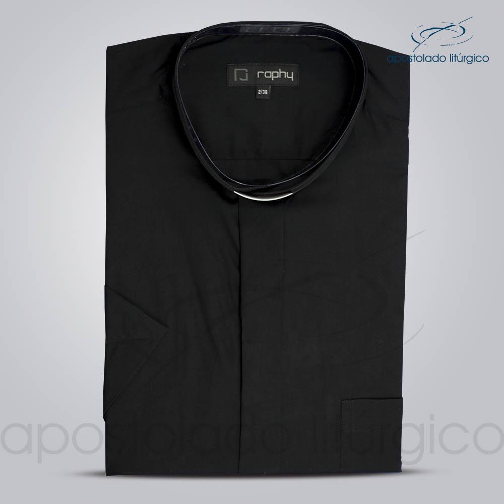 Camisa Algodão Preta Manga Curta Tamanho 2 | Apostolado Litúrgico Brasil