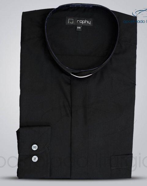 Camisa Algodão Preta Manga Longa Tamanho 3