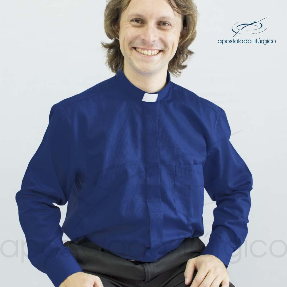 Camisa Casinha de Abelha Azul Royal Manga Longa