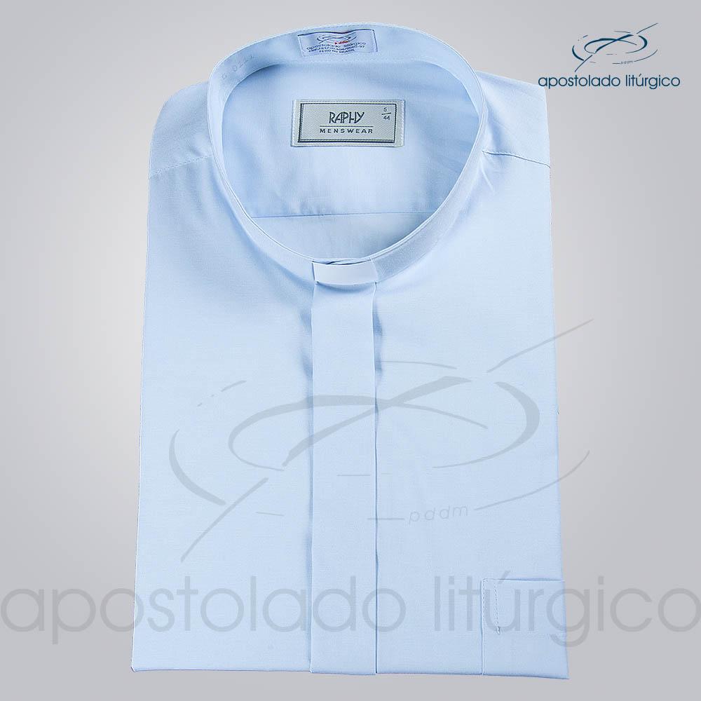 Camisa Natural Blend Azul Claro Manga Curta b   Apostolado Litúrgico Brasil