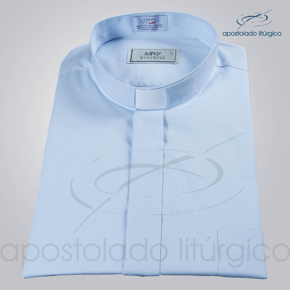 Camisa Natural Blend Azul Claro Manga Curta c | Apostolado Litúrgico Brasil