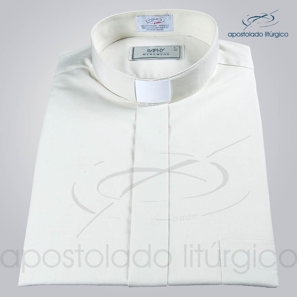 Camisa Natural Blend Bege Manga Curta a   Apostolado Litúrgico Brasil
