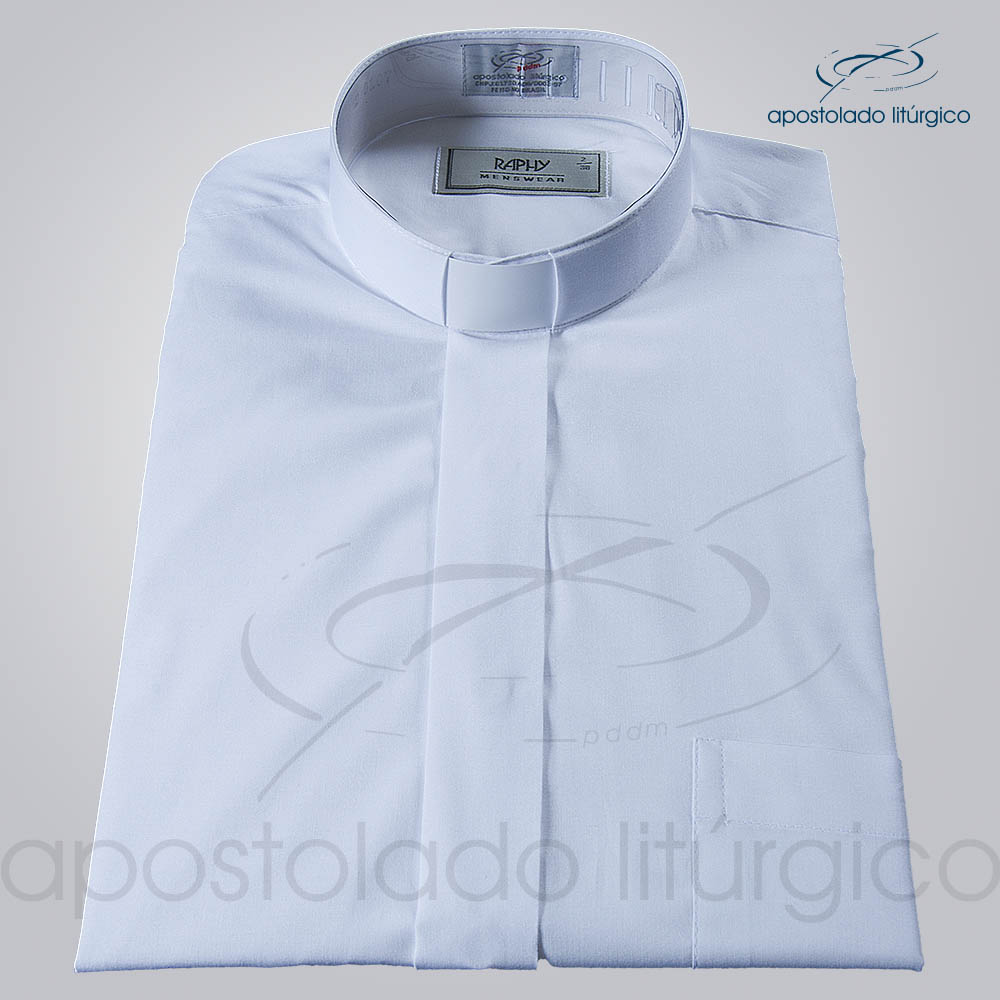 Camisa Natural Blend Branca Manga Curta 1   Apostolado Litúrgico Brasil