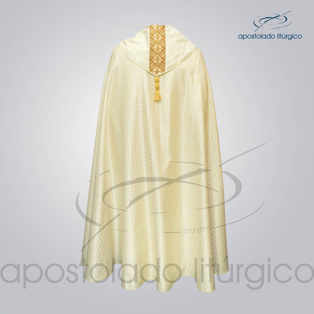 Capa de Bencao Brocado Damasco Galao Largo N 9 Perola Costas COD 3455 | Apostolado Litúrgico Brasil