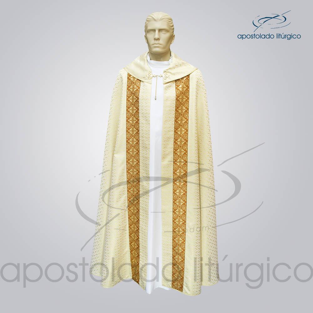 Capa de Bencao Brocado Damasco Galao Largo N 9 Perola Frente COD 3455 | Apostolado Litúrgico Brasil