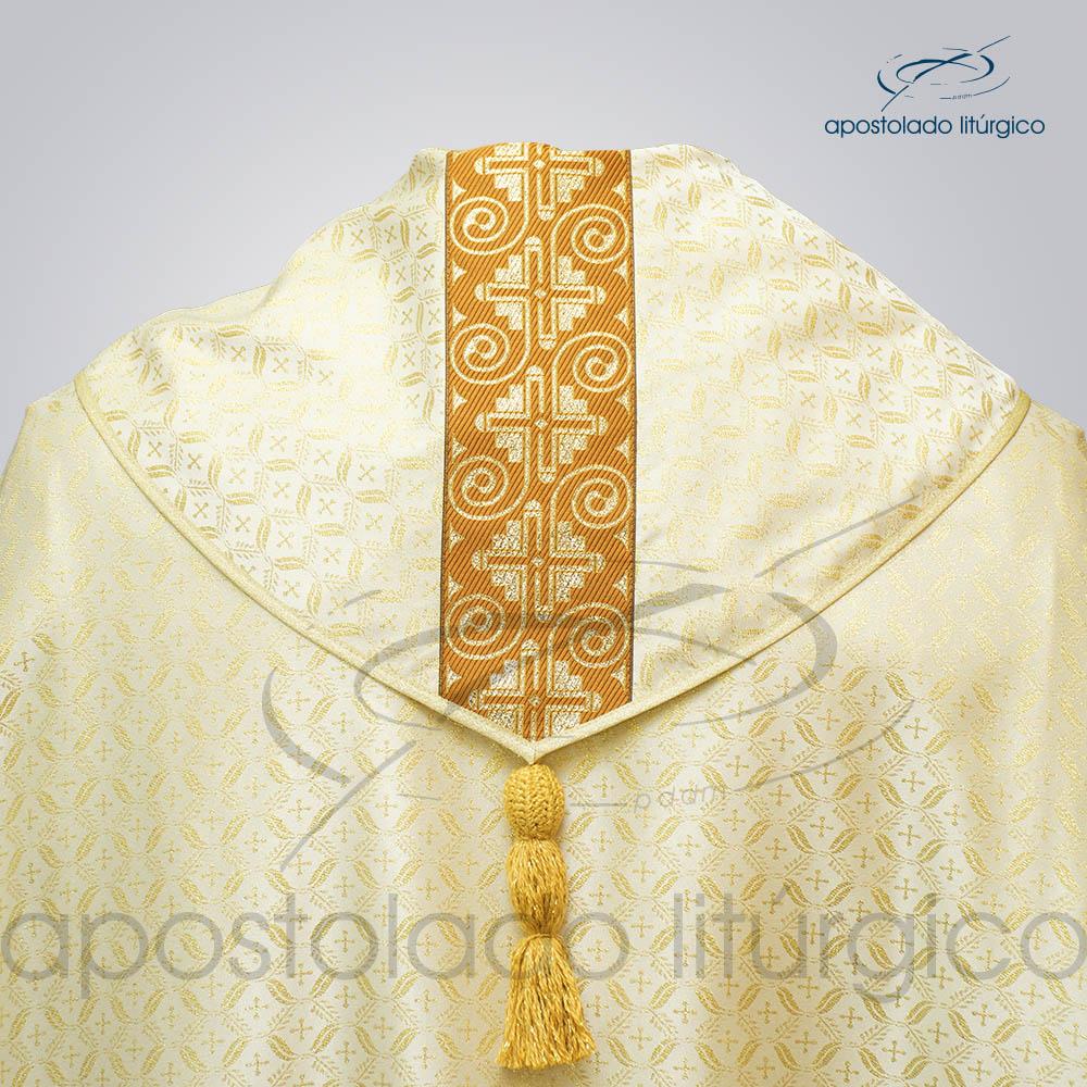 Capa de Bencao Brocado Damasco Galao Largo N 9 Perola Gola Costas COD 3455 | Apostolado Litúrgico Brasil
