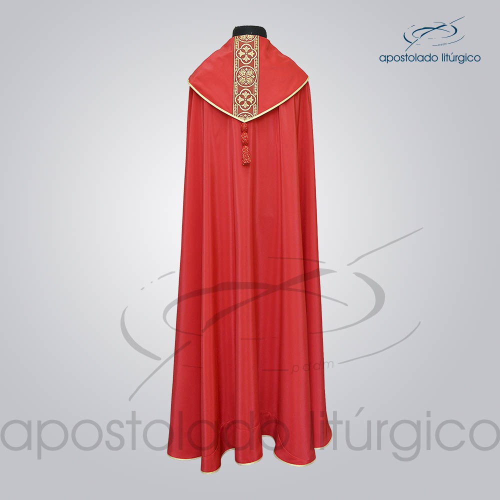Capa de Bencao Crepe Seda Galao Largo N 10 Vermelha Costas COD 1153 | Apostolado Litúrgico Brasil