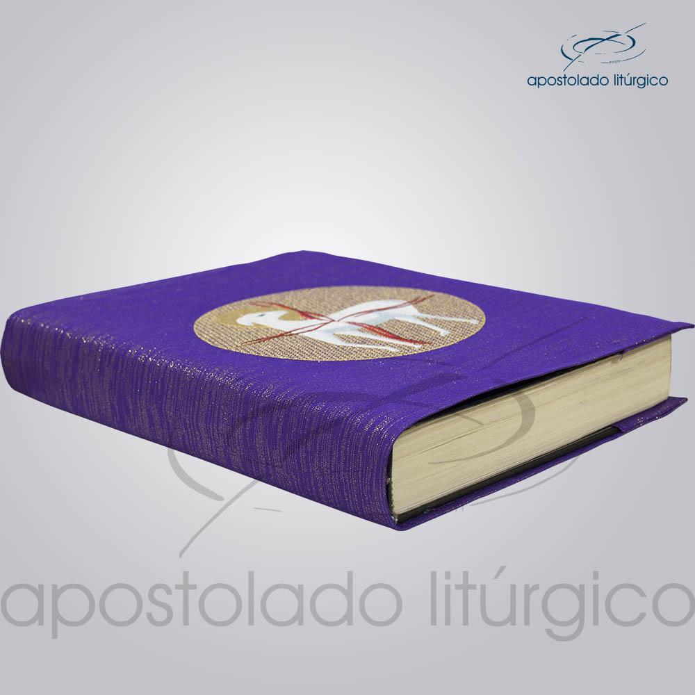 Capa de Evangeliario Bordado Cordeiro Roxa Lateral | Apostolado Litúrgico Brasil