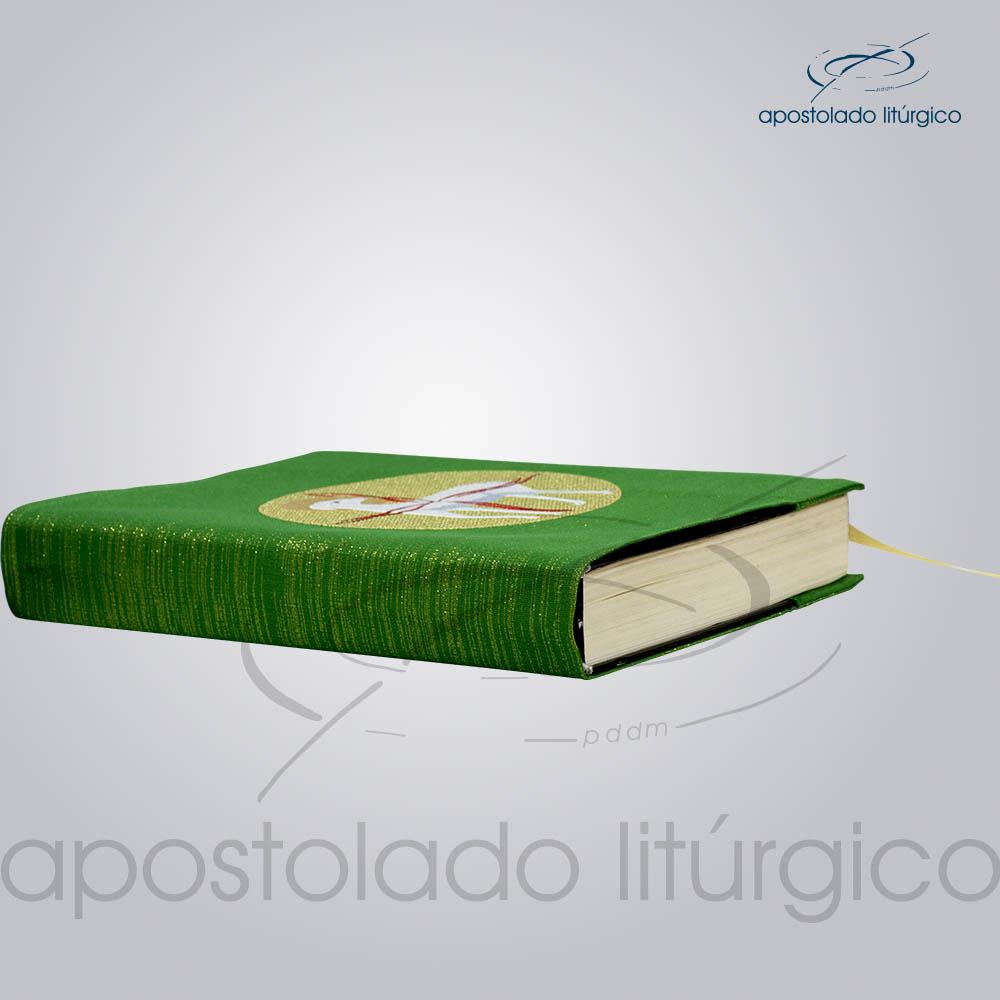 Capa de Evangeliario Bordado Cordeiro Verde Lateral | Apostolado Litúrgico Brasil
