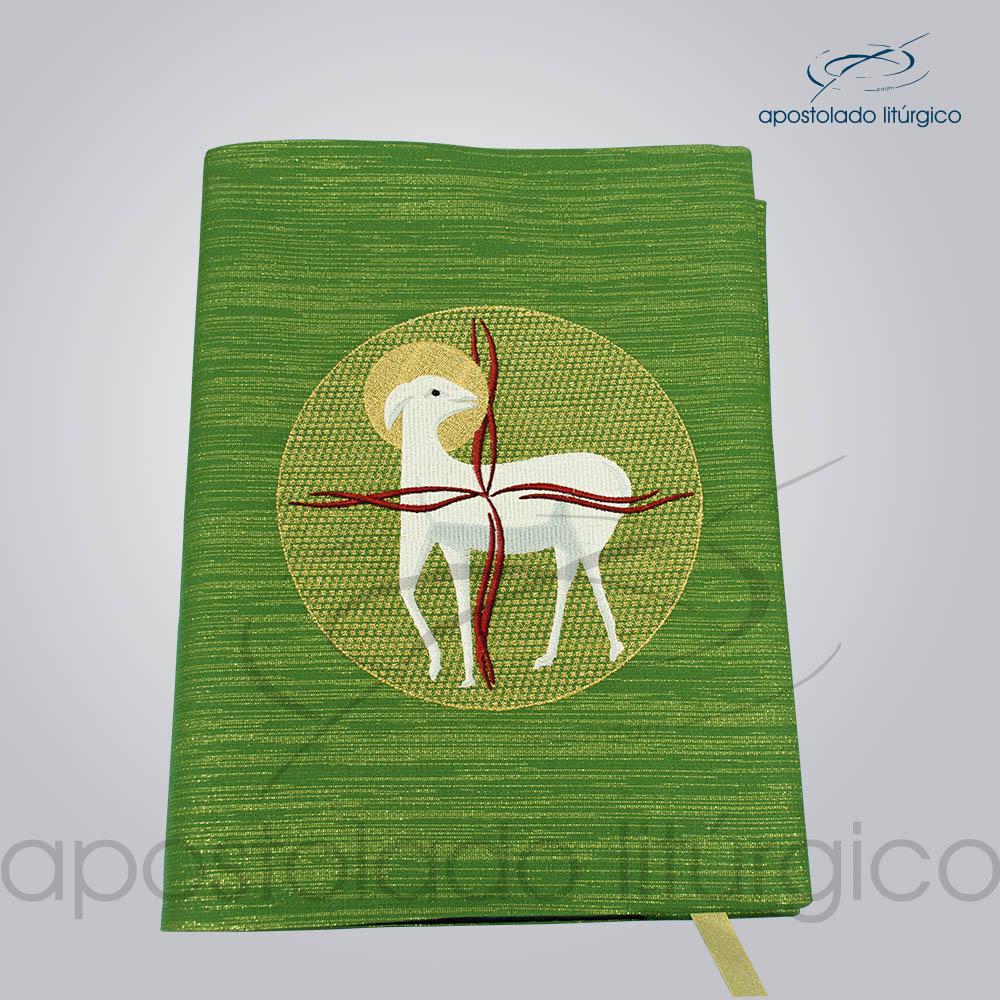 Capa de Evangeliario Bordado Cordeiro Verde Visto de Cima | Apostolado Litúrgico Brasil