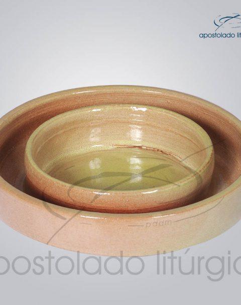 Castical de Ceramica para Vela Grossa Altura 14cm Bege