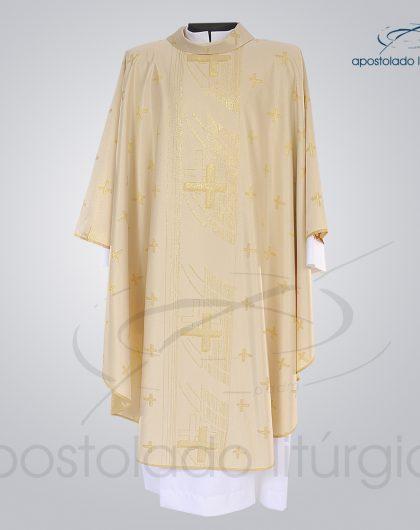 Casula Brocado Cruz Pascal Perola Frente - COD 3305