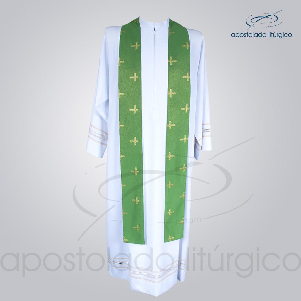 Casula Brocado Cruz Pascal Verde Estola - COD 3309