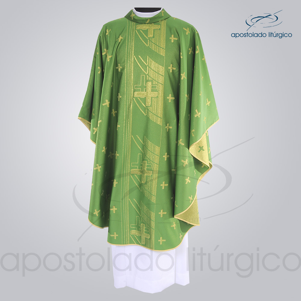 Casula Brocado Cruz Pascal Verde Frente - COD 3309