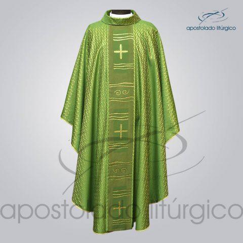 Casula Brocado Damasco Galao [Caminho] Verde Dourada Frente – COD 3478 (2)