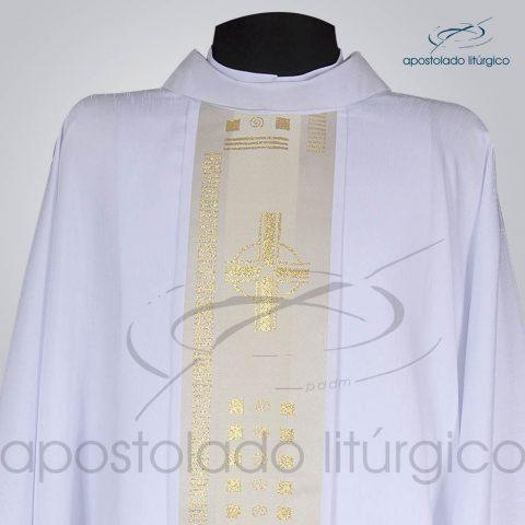 Casula Crepe Seda Galao [Cruz A] Branca Frente Gola
