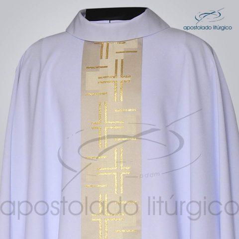 Casula Crepe Seda Galao [Cruz Caminho 2] Branca Frente Gola – COD 3727
