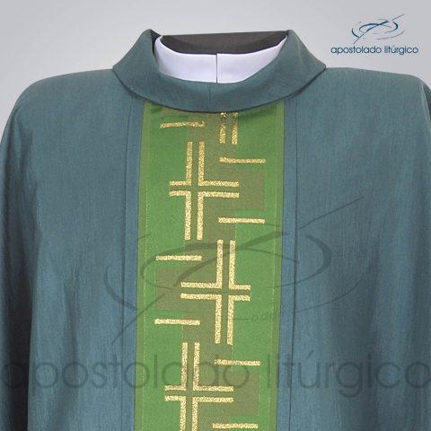 Casula Crepe Seda Galao [Cruz Caminho 2] Verde Frente Gola – COD 3732
