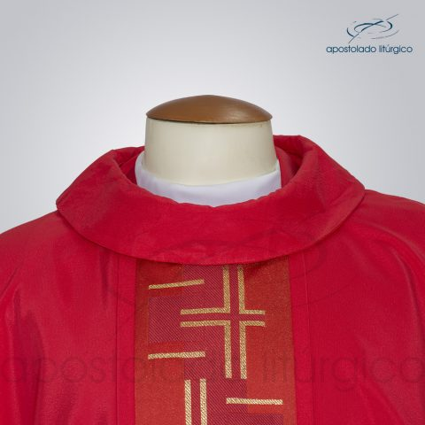 Casula Crepe Seda Galao [Cruz Caminho 2] Vermelha Frente Gola – COD 3730