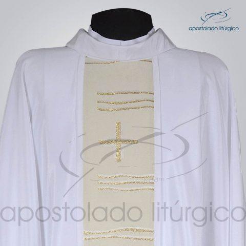 Casula Crepe Seda Galao [Cruz Caminho] Branca Frente Gola – COD 1232